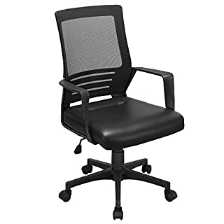 YAHEETECH Ergonomic Mesh Office Desk Chair with Leather Seat, Executive Chair Computer Chair with Lumbar Support for Adult, Teens Black