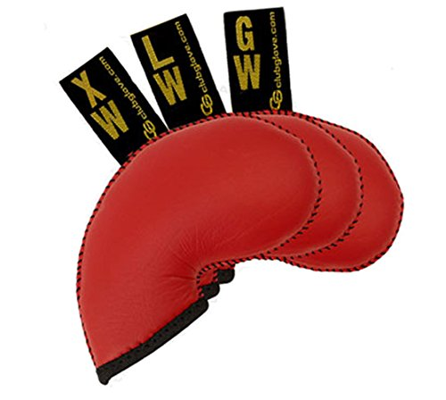 Club Glove Golf 3 Piece Regular Gloveskin Iron Covers (GW, LW, XW) (Red) (Club Glove Headcovers)
