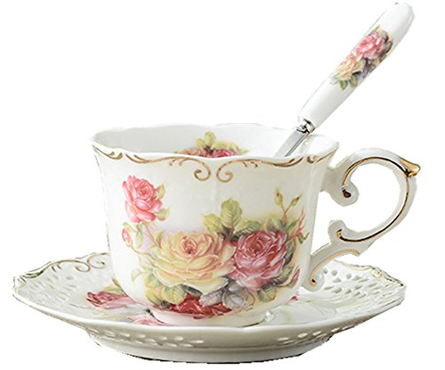 Moyishi Royal Red Rose Chintz Porcelain Footed Mug Assorted with Gold Trim 1 Pc Christmas Birthday Best -