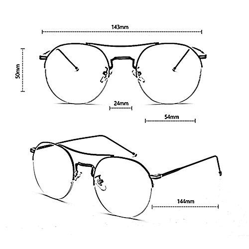 Color Semicircular Gafas YQ QY Espejo 4 Simplicidad Plano Gafas Exteriores Y para 3 Retro Marco Moda Bq5Ox5Ywr