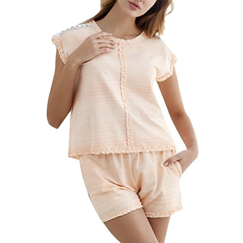 Zhhlaixing Comfortable Womens Home Casual Nightwear Set Adult Pure Colour Pajamas Orange