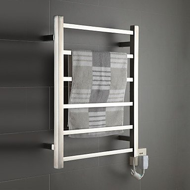 LI 60W Mirror Brushed Wall Mount Square Pipe Towel Warmmer Drying Rack , 110-120V Lina-bathroom accessories