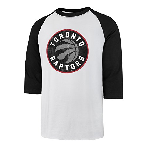 NBA Toronto Raptors Men's Ots Rival Raglan Distressed Tee, Small, White Wash