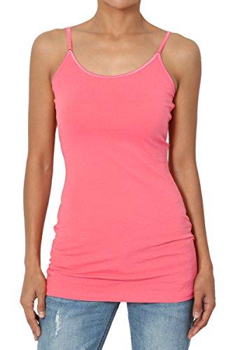 Cotton Cami Pink (TheMogan Women's Adjustable Thin Strap Cotton Long Cami Tank Top Coral B L)