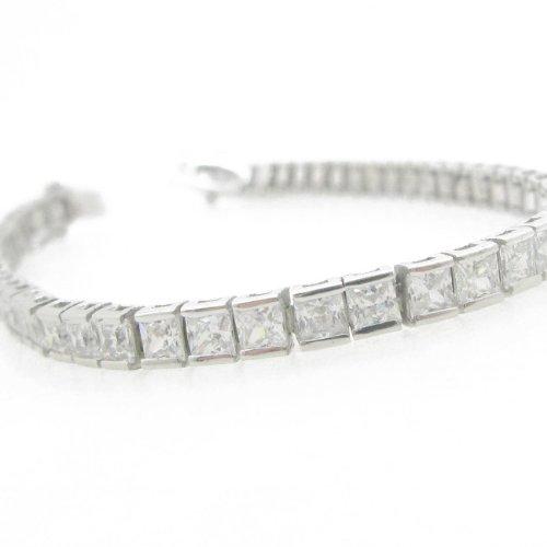 Sterling Silver Princess Bracelets (Ladies .925 Italian Sterling Silver princess cut cz tennis bracelet)