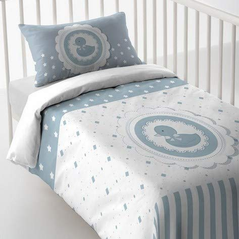 Luna Style Baby Boy Girl Crib Printed 3pc Bedding Set with Duvet Cover,Comforter and Pillowcase - Natural Soft Cotton Bedsheets - Sweet Cute Duck Print for Kids Toddler - Made in Spain