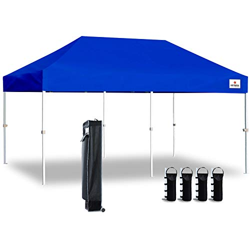Keymaya 10'x20' Ez Pop Up Canopy Tent Commercial Instant Shelter Canopies Bonus Heavy Duty Weight Bag 6-pc Pack (Blue)