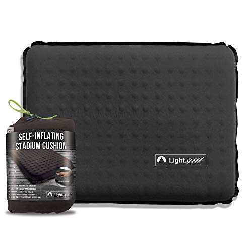 Lightspeed Outdoors Self-Inflating Stadium Seat Cushion with an Integrated Carry Bag (Onyx)