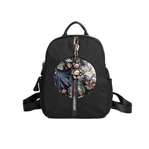Sunny Women's Backpack Embroidered Ethnic Casual Daypack Oxford School Bags Travel Shoulder Bags Three-layer Design Anti-theft Waterproof,302010cm (Color : D) ()