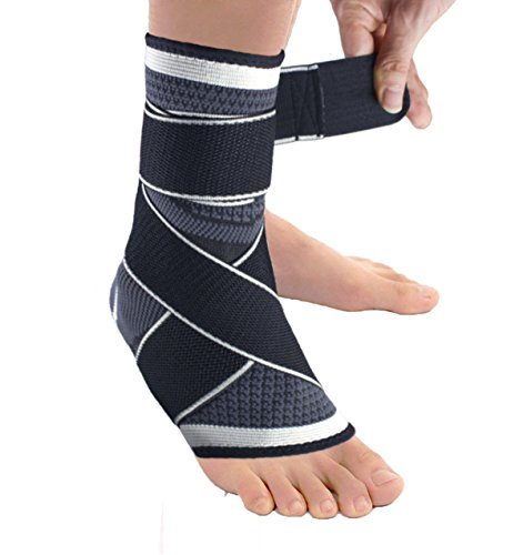 Plantar Fasciitis Ankle Brace Sock, Compression Achilles Tendon Support Sleeve with Adjustable Strap for Eases Swelling,Joint Pain Foot Pain Relief from Heel Spurs-Gray