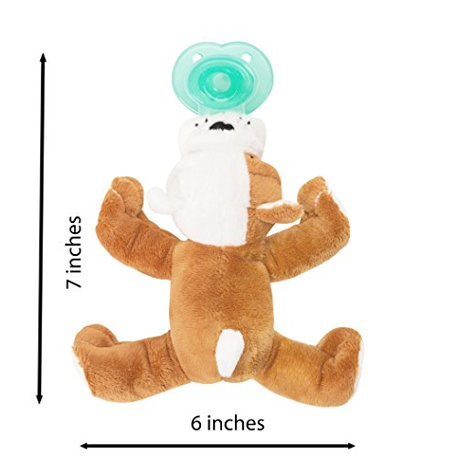 Nookums Paci-Plushies Bull Dog Shakies - Pacifier Holder and Rattle (2 in 1) (Plush Toy Includes Detachable Pacifier, Use with Multiple Brand Name Pacifiers) by Nookums (Image #3)