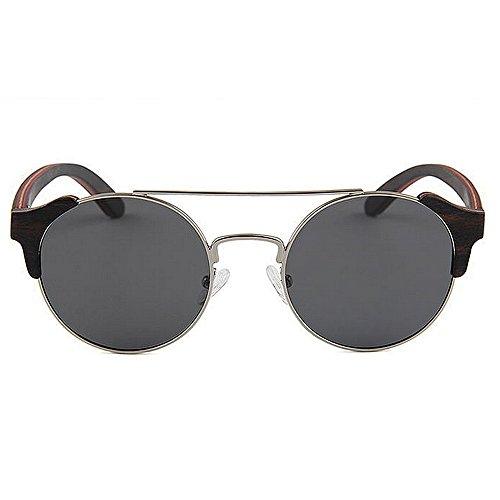 que madera metal marco de la mano las de conduce alta Retro hombres a Protección calidad personalidad de polarizadas sol sol hechas de de de Gafas los Sungl Gris Beach gafas de Gafas de sol de ULTRAVIOLETA Hqnw1Ip