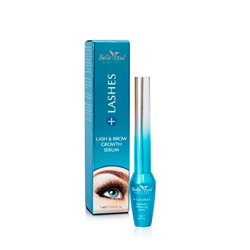 Belle Azul +Lashes Growth Serum - Longer, Thicker, Fuller Lashes & Enhanced Brows with CASTOR OIL - Conditioning Hair Growth Treatment. 0.24 fl.oz.
