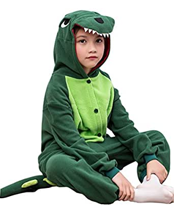 [GRACES]Unisex Children Green Dinosaur Pyjamas Halloween Kids Costume (12-18M, Green)