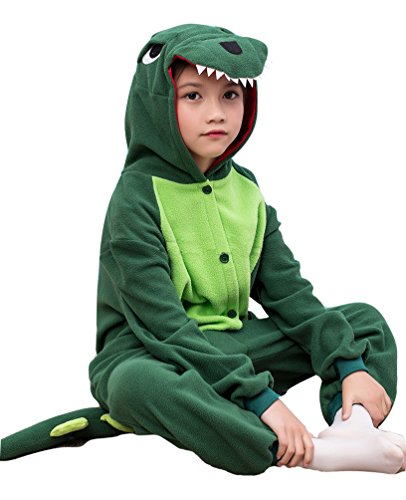 GRACES Unisex Children Green Dinosaur Pyjamas Halloween Kids Costume (2-3T, Green)