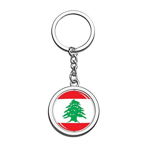 Lebanon National Flag Keychain 3D Crystal Creative Spinning