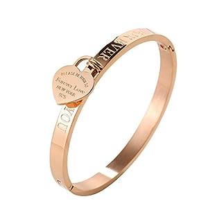 "JINHUI ❤Thanksgiving Day Gift Jewelry 18 K Rose Gold/Gold Bangle Bracelet Heart Pendant Forever Love Letters Engraved Bangle Bracelet for Women Size 6.5"""