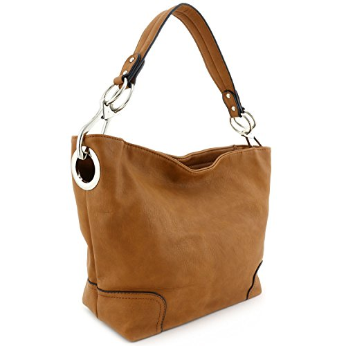 Women's Hobo Shoulder Bag with Big Snap Hook Hardware (Camel Leather Handbags)