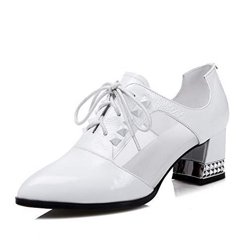 Pumps Donna Allhqfashion A Punta Chiusa In Pelle Di Vitello Color Gattino Con Granata E Rivetto Bianco