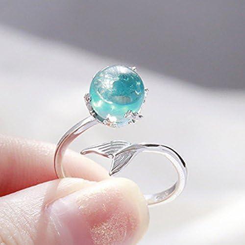 Wansan Open Ring Blue Crystal Mermaid Rings for Anniversary Valentines Day Birthday Gift Women Girls