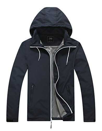 ZSHOW Men's Lightweight Skin Coat Packable Windproof Jacket with Folding Hood(Navy,Small) by ZSHOW