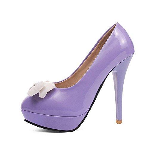AllhqFashion Damen Lackleder Stiletto Rund Schließen Zehe Rein Ziehen auf Pumps Schuhe Lila