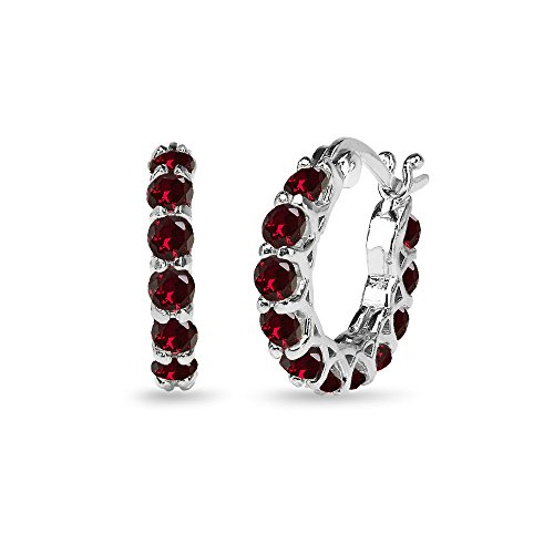 Sterling Silver Created Ruby Small Round Huggie 18mm Hoop -