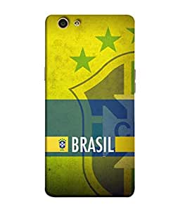 ColorKing Football Brazil 21 Multicolor shell case cover for OPPO F1S