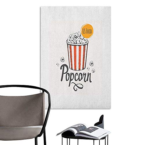 (3D Murals Stickers Wall Decals Movie Theater Sketch Design Cinema Snack US Fast Food Pop Corn Art Charcoal Grey Vermilion Marigold Background Wall Stickers W16 x)
