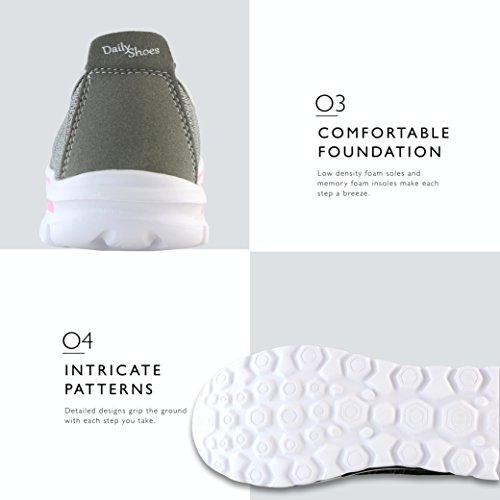 Dailyshoes Damessneakers Fit Mesh Instapmodel Wandelschoenen Met Memory Foam Inlegzolen - Ademend Mesh - Duurzame Zolen - Betrouwbare Grip - Perfect Voor Wandelen En Joggen Grijs Roze Mesh