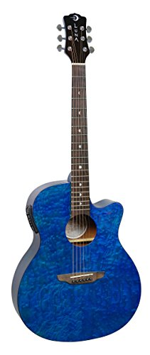 Luna GYP E QA TEAL Acoustic-Electric Guitar, Trans Teal