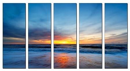 125cm Wide Seascape Multi Canvas Set of 3 Wall Art Brown Ocean Sunrise