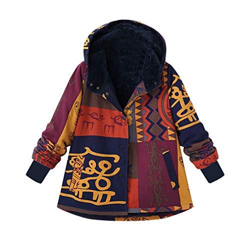 Cotton Plush Vistoso Fleece Jacket Linen Ocio Mujeres Larga Fluffy Coat Capucha Print Ethnic Casual Mxssi De Retro Con Warm Manga n6gq0qawH