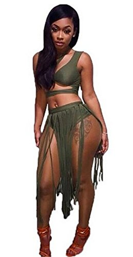 Womens Sexy 2 Pieces Outfits Backless Wrapped Crop Top Tasseles Skirt Club Dress (M, (Backless Skirt)