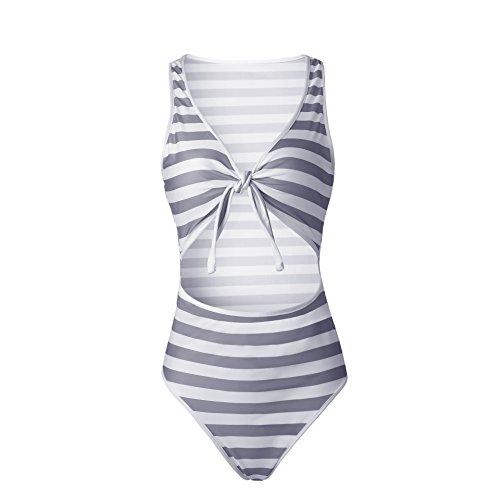 Mujeres Push Up Bañador Rayas Impresión IHRKleid® Mujeres Trajes Vendaje Cruzar Bandeau Bikinis Ropa de baño Gris