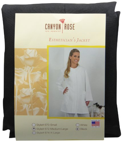 Canyon Rose Long Sleeve Salon Esthetician Jacket, Black, M/L