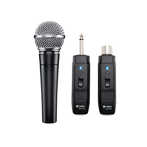 (Shure SM58-LC Cardioid Dynamic Vocal Microphone with Knox Gear Microphone Wireless Adapter)