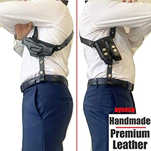 Aysesa Rig for Glock 19 Shoulder Holster Leather Fits Pistols: 9mm 40 45 Concealed Carry Gun Fit Glock G19 23 26 32 43 4H&K VP9 Springfield XD XDS Sig Sauer p238 S&W 457 Walther PPQ Beretta Black