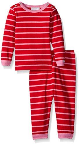 Coccoli Baby Girls' Pink Red Stripe Jersey Knit Cotton 2 Piece Set, Cranberry/Begonia 3 - Cotton Coccoli