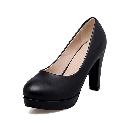 on shoes Pompe Solido Weenfashion Tacchi Donne Pull Rotonda Delle Alti Pu Nero toe BUqP1qS8w