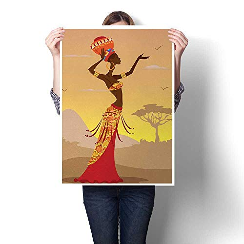 Lovefree African Canvas Print Wall Art African Woman in Desert with Gulls Flying Around Folk Female Stylish Artful Print Art Stickers 20