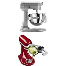 KitchenAid Professional 600 Series 6-Quart Bowl-Lift Stand Mixer Spiralizer Attachment with Peel Bundle