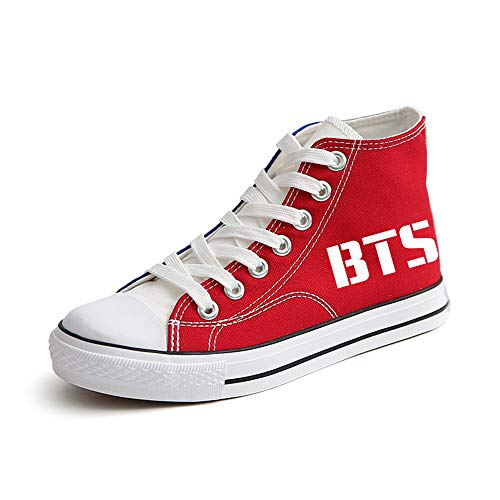 Bts De Fashion Con Ayuda Cordones Patchwork Canvas Personalidad Zapatos Red05 Popular Alta FFrxqHwa