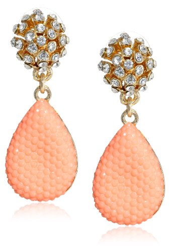 [Opaque Caviar Stone Cluster Top Posted Shiny Gold and Peach Drop Earrings] (Costume Caviar)