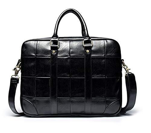 LUXIAOYU Checkered Handbag Retro Business Men's Portable Men's Leather Business British Fashion Computer Briefcase