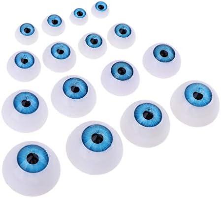 16点 ドール人形のため DIYドールアイ クマ人形 BJD MSD ドールのため アクリル 眼球モデル 目模型 2色 - 青