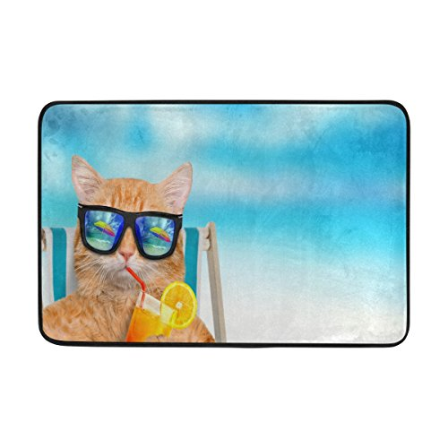 ALAZA 23.6x15.7 inch Non-Slip Polyester Doormat Cat Wearing Sunglasses Relaxing Sitting On Beach Chair Washable Entrance Rug for Inside Floor Living Room Toilet Patio - Sunglasses Inside Wearing