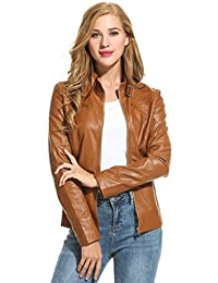 HOTOUCH Womens Soft Leather Biker Jacket