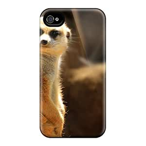 Flexible Tpu Back Case Cover For Iphone 4/4s - Funny Meerkat
