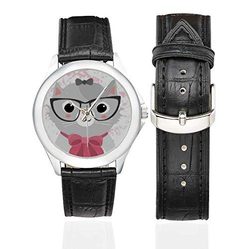 Reloj de Pulsera para Gato, Correa de Piel Negra, Regalo para Mujeres y Gatos, Gatos, Gatos, Amantes de Las Mascotas: Amazon.es: Relojes